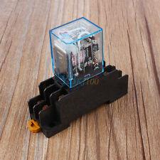 AC 220V 10A Coil 8 Pin Puissance Relais Avec Socket Base LY2NJ DPDT Neuf OB