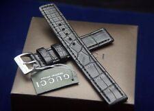 New Gucci 17 MM Black Crocodile Watch Band - Large - 17.125L