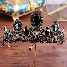 7cm High Adult Emerald Green Black Crystal Tiara Crown Wedding Pageant Prom