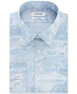 Calvin Klein Men's Slim Fit Stretch Blue Abstract Stripe Size 15.5x34/35