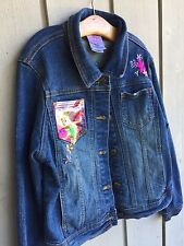 DISNEY STORE Embroidered Denim Girls Childs Jean Jacket Fairies Sz L 10/12
