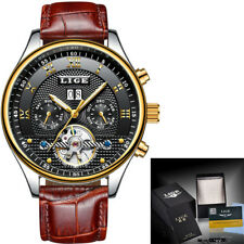 Gents Luxury Black Face Day Date Month Roman Numeral Automatic Leather Watch