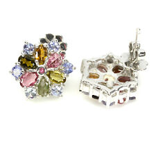 925 STERLING SILVER 3.02 CTW TANZANITE, TOURMALINE & RUBY STAR STUDS