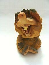 Hand Carved Wooden Scandinavian Folk Art Troll Figurine