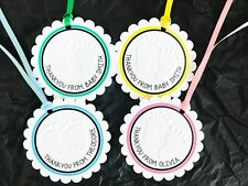 10 White Gift Tags Baby Shower Birth Favour Bomboniere Embossed Personalised