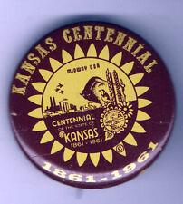 1961 pin KANSAS CENTENNIAL pinback 1861 - 1961 Midway USA Sunflower button