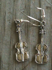 Violin Silver Plated Lead Free Pewter Music Earrings