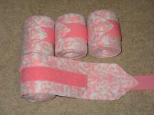 New set of 4 light pink/grey damask horse polo wraps (horse/pony leg wraps)