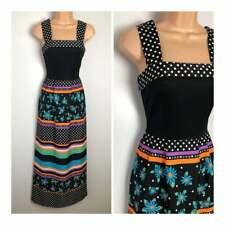 Vintage 70's Black Mulitcolour Polka Dot & Floral Print Summer Boho Maxi Dress 6