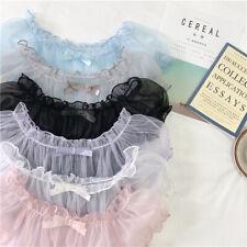 Lady Lolita T-shirt Tops Blouse Chiffon Mesh Sheer Off-shoulder Puff Sleeve Cute