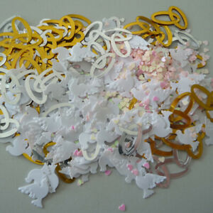 Scattering Item Decorations Wedding Confetti Doves Hearts Silver Gold
