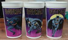 Batman Movie Taco Bell Purple Collector Cups Lot Set of 3 Batmobile Batwing 1989