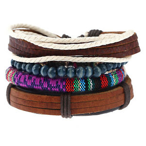 Bohemian Beads and Braided Rope Faux Leather Mens Womens Wristband Bracelet 4pcs