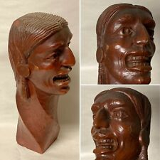 ANTIQUE CARVED WOOD LAUGHING INDIAN HEAD ARCHITECTURAL FURNITURE SALVAGE FINIAL