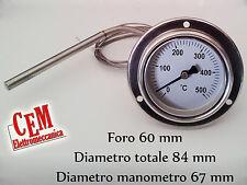 Termometro per forno a legna 500 °C gradi in inox  barbecue fornello pirometro