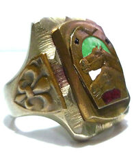 LARGE MEXICAN MEXICO BIKER RING HORSE ENAMEL ROCKABILLY SQUARE SHIELD RING