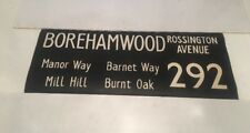"London Linen Bus Blind Jan78 36"" 292 Borehamwood Mill Hill Burnt Oak Barnet Way"