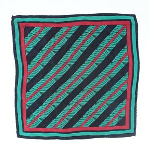 """Azimut Yachts Mens Silk Pocket Square 12"""" Green Red Blue Stripe Wave Print Italy"""