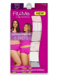Fruit of the Loom Fit for Me Women's 4-Way Cotton Stretch Brief Underwear, 6Pk