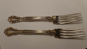 2-Antique,(1895) Sterling Silver, Dinner Fork, By Gorham in The Chantilly Pat.