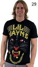 New Mens T-shirt American rapper Lil Wayne Black Panter Gold Chain Gold Teeth