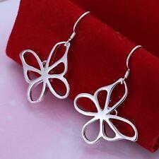 925 Sterling Silver Plated Ladies Flat Butterfly Drop/Dangle Hook Earrings Gift