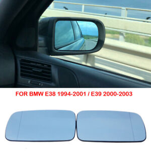 2x Heated Blue Door Rearview Wing Mirror Glass For BMW E38 95-01 E39 00-03