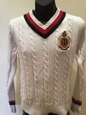 Tommy Hilfiger Men's Long Sleeve Cricket V-Neck Jumper Knit SIZE  M  AS NEW,