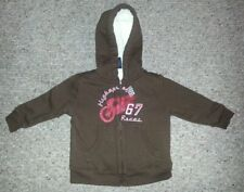 Faded Glory Brown Hooded Sherpa Lined Zip Front Sweatshirt Jacket Boys 18 months