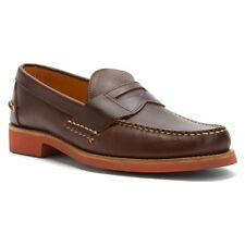 SEBAGO MENS BARTON CLASSIC CASUAL DRESS SHOES size 7 NEW BROWN LEATHER SLIP ON