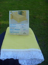 Vintage Mid Century Bates Sugar Stripe Bright Yellow White Eyelet Bedspread TWIN