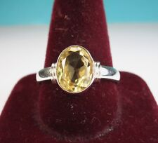 925 St. Silver Skin Touch Ring Studded With 10 x 8 Citrine Stone