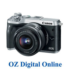 New Canon EOS M6 +15-45mm Lens Silver Mirrorless 24.2MP WiFi NFC Camera 1YrAuWty
