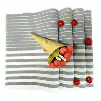 Placemats Washable Set of 4 Woven PVC Heat Resistant Dinner Table Mats Gray