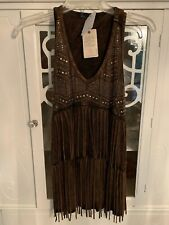 Western style tank top with fringe. Brown. V Neck. Metal Accents. Size L. NWT's
