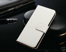 Genuine Real Leather Wallet Flip Stand Case Cover for Samsung Galaxy J5 (2016) White