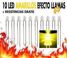 10 x Leds amarillos  Ø 3 mm EFECTO LLAMAS + resistencias gratis. NUEVOS !!