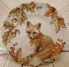 New listing Pier 1 Daisy the Fox Porcelain Dessert Plates (2) Fall Autumn Woodland Acorn