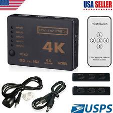 5 Port UHD 3D 4K 1080p HDMI Splitter Switch Selector Switcher Hub IR Remote HDTV