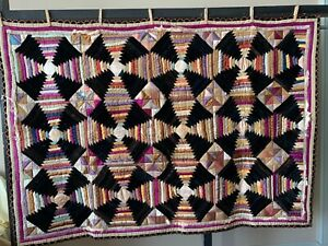 Antique patchwork quilt made from silk & silk velvet reasonable condition