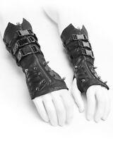 Punk Rave Dieselpunk Spiked Gloves Gauntlets Black Faux Leather Gothic Steampunk