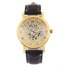 Men Leather Band Stainless Steel Sport Wrist Watch Automatic Mechanical Watch Y5