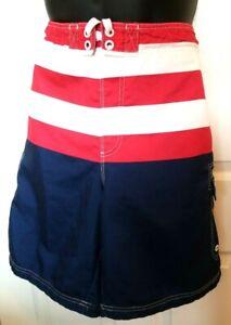 OP Mens Size XL Red White Blue Striped Flag Print Board Shorts Beach Swim Trunks