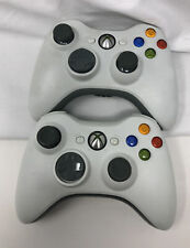 TWO Official Genuine OEM Microsoft Xbox 360 Controller White Tested