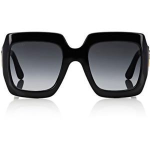 Gucci GG0053s Square Women Sunglasses Black Frame Gray Gradient Lens