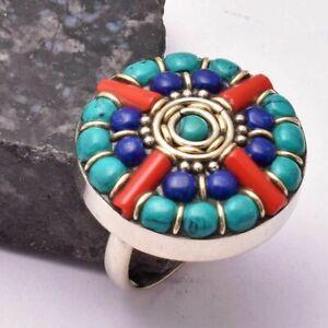 Tibetan Turquoise Coral Ethnic Handmade Ring Jewelry US Size-7.5 AR 35911