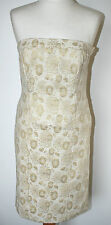Red Herring Uk10 EU38 crema y oro Brocade vestido sin tirantes con laced back