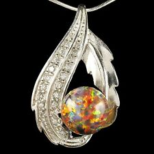 "Alducchi Black Rainbow lab Fire Opal -CZ 925 Sterling Silver Pendant 18""Necklace"