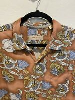 Tommy Bahama 100% Silk Blue Short Sleeve Large Snowflake Button Front Shirt