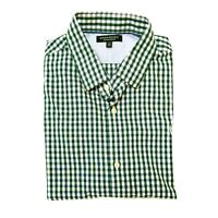 Banana Republic Slim Fit Non Iron Kelly green plaid button down mens shirt Large